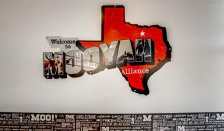 MOOYAH Fort Worth 9604 Old Denton Road interior welcome graphic