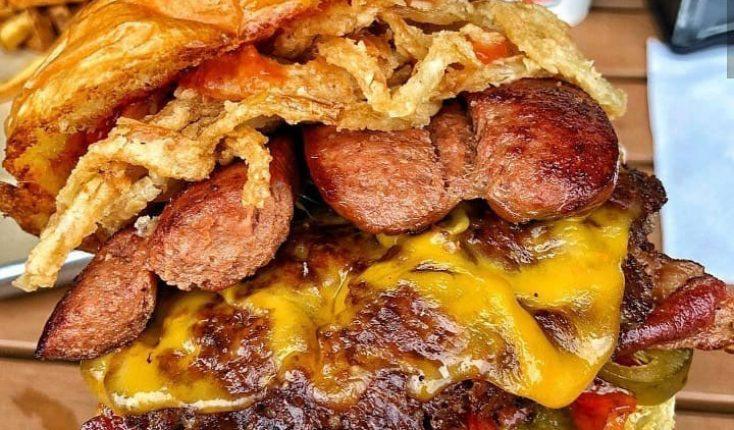 MOOYAH indulgent hamburgdog hot dog burger